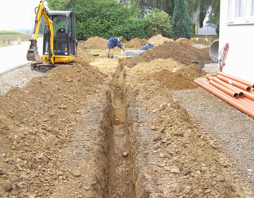 Die Rohre und Leitungen werden eingesandet, der Graben verfüllt und verdichtet.