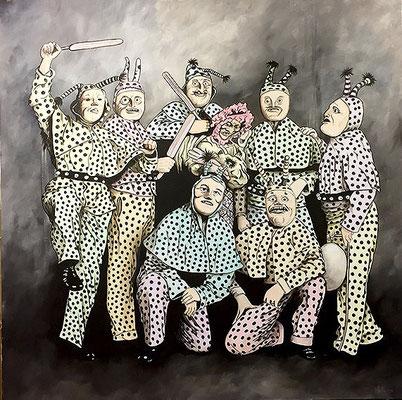 GRETH SCHELL GRUPPE, Acryl auf Leinwand, acrylic on canvas, 120/120cm, CHF 1'200.--