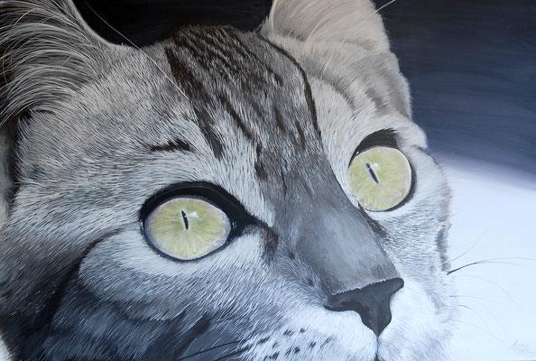 KATZE,  Acryl auf Leinwand, acrylic on canvas, 120/80cm, CHF 1'500.--, Prints erhältlich, prints available