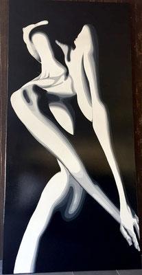 FRAU ABSTRAKT, Acryl auf Leinwand, acrylic on canvas, 95/200cm, CHF 1'800.--