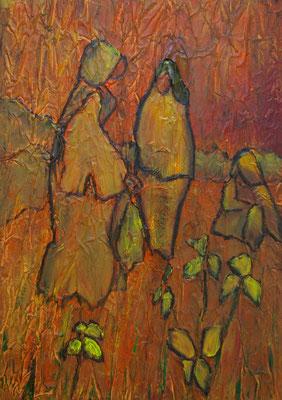 Les 3 soeurs, Techniques mixtes sur toile, 50 x 70 cm, vendu