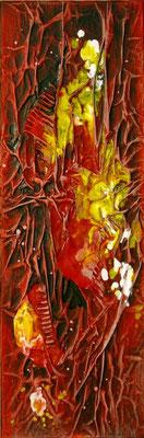 Rouge 3, Techniques mixtes sur toile, 20 x 60 cm, disponible