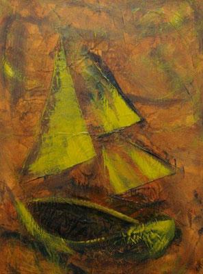 Petit bateau, Techniques mixtes sur toile, 80 x 60 cm, vendu