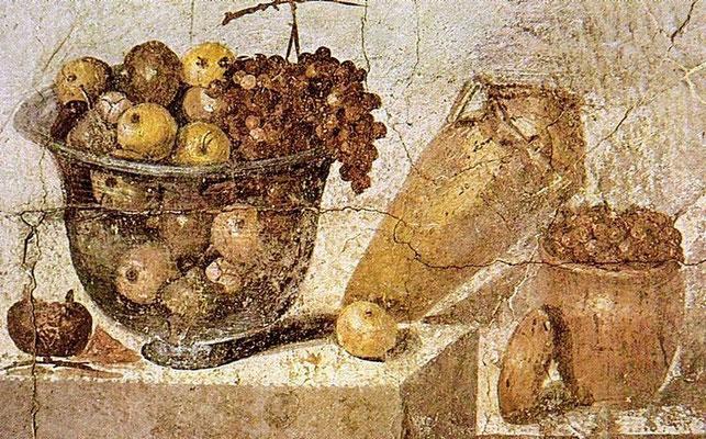Nature morte . Fresque de la villa de Julia Félix. 108 x 70 cm, Musée Archéologique National de Naples, ( VIe siècle avant J.C - 79 après J.C), Wikimédia Commons