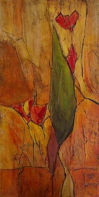 Au jardin, Techniques mixtes sur médium, 44 x 88 cm, vendu