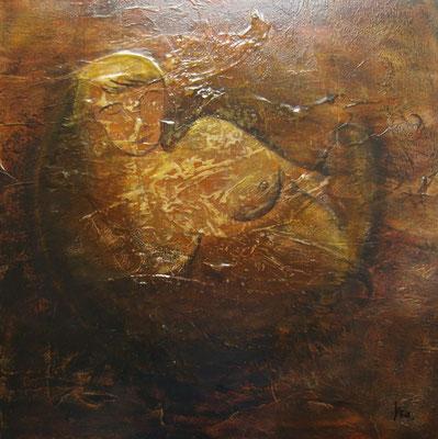 La naissance de Gaïa, Techniques mixtes sur médium, 80 x 80 cm, vendu