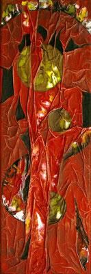 Rouge 1, Techniques mixtes sur toile, 20 x 60 cm, disponible