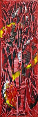 Rouge 2, Techniques mixtes sur toile, 20 x 60 cm, disponible