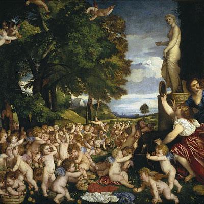 """""""Offrande à Vénus"""" 1518-1519, Titien, 172 x 175 cm, Musée de Prado, W-Commons"""