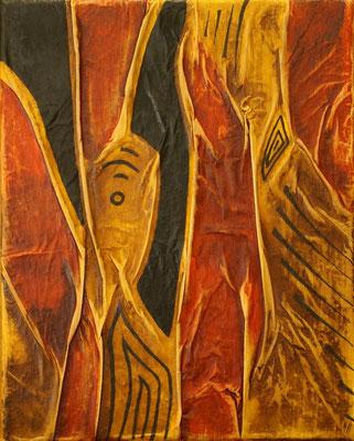 Lignes en forme II, Techniques mixtes sur toile, 24x30 cm, vendu
