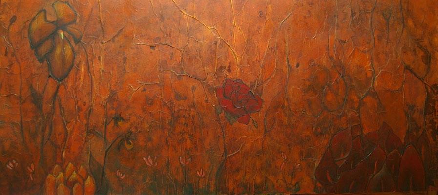 """""""Les fleurs du mal"""" Ysa Casse, Techniques mixtes sur châssis agglo, 100 x 200 cm, vendu"""