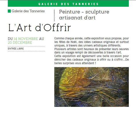 Saison culturelle,Galerie des Tanneries, Nérac