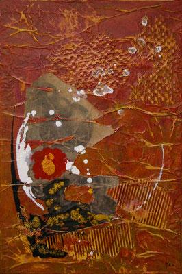 Un autre monde, Techniques mixtes sur toile, 40 x 60 cm, disponible