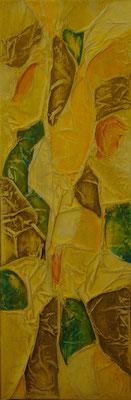 Matières et couleurs IX, Techniques mixtes sur toile, 20 x 60 cm, disponible