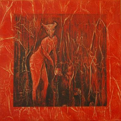 Le minotaure surpris dans son antre, Techniques mixtes sur toile, 80 x 80 cm, disponible