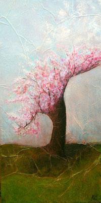Le vieux cerisier, Techniques mixtes sur médium, 44 x 88 cm, vendu