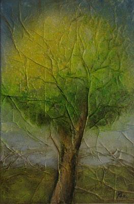 Printemps, Techniques mixtes sur toile, 40 x 60 cm, vendu