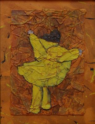 Libre comme le vent, Techniques mixtes sur carton, 39 x 51 cm, vendu
