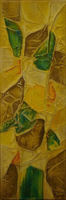 Matières et couleurs X, Techniques mixtes sur toile, 20 x 60 cm, disponible