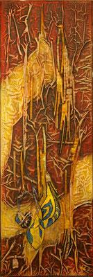 Matières et couleurs IV, Techniques mixtes sur toile, 20 x 60 cm, disponible