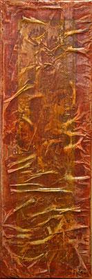 Matières et couleurs XI, Techniques mixtes sur toile, 20 x 60 cm, disponible