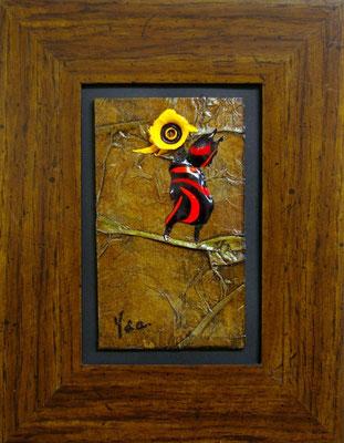 Piaf II, Techniques mixtes sur carton, 18 x 24 cm encadré, vendu