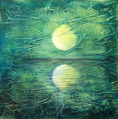 Rêver, Techniques mixtes sur toile, 80 x 80 cm, disponible