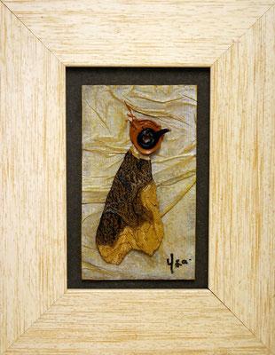 Piaf V Techniques mixtes sur carton, 18 x 24 cm encadré, disponible
