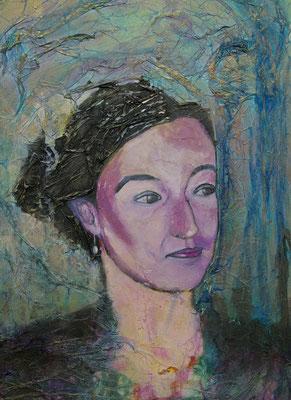 Eugénie, Techniques mixtes sur toile, 50 x 70 cm, vendu