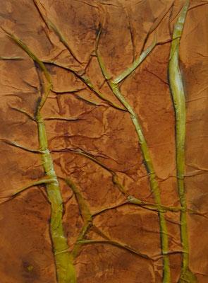 Arbres, Techniques mixtes sur toile, 30 x 40 cm, vendu