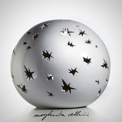 Sfera MATISSE Maiolica smalto bianco lucido. Margherita Vellini Ceramica italiana fatta a mano Home Light Design