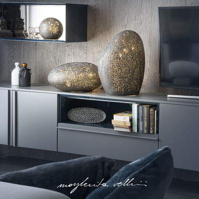 Lampade da appoggio tagli PIANETA finitura in smalto antracite opaco - Margherita Vellini - Lampade in ceramica - Home Lighting Design