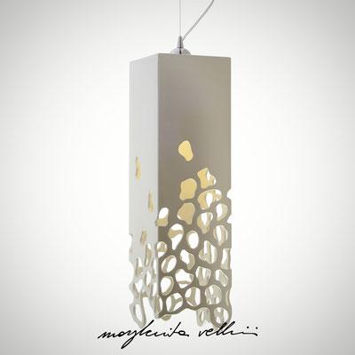 Sospensione parallelepipedo  BLOB Maiolica smalto bianco lucido - Margherita Vellini - Lampade in ceramica - Home Lighting Design