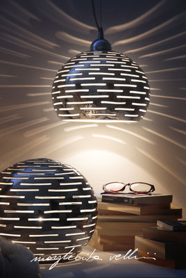 Sphere and hanging lamps ORIZZONTALI  precious metal Platinum 15% Margherita Vellini Italian handmade ceramics. Home Lighting Design