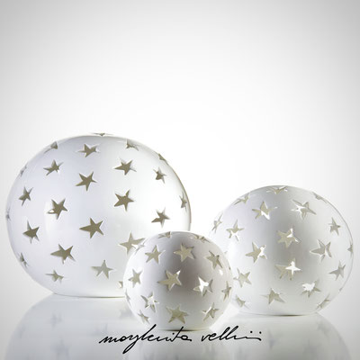 Sphere table/floor lamps STELLE shiny white glaze Margherita Vellini - Ceramic Lamps -  Home Lighting Design - Made in Italy