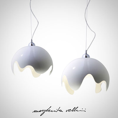 Pendant lamps ONDA shiny white glaze. Margherita Vellini - Ceramic Lamps -  Home Lighting Design - Made in Italy