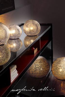 Lampade da tavolo / terra Sfere BUCHINI metallo prezioso Platino 15% Margherita Vellini Ceramica Italiana fatta a mano Home Lighting Design