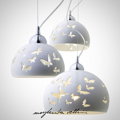 Pendant lamps FARFALLE shiny white glaze. Margherita Vellini - Ceramic Lamps -  Home Lighting Design - Made in Italy
