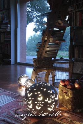 Lampade da tavolo / terra Sfere FARFALLE bianco lucido Margherita Vellini Ceramica Italiana fatta a mano Home Lighting Design