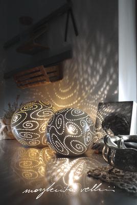 Lampade da tavolo / terra Sfere SPIRALI beige finitura Madreperla Margherita Vellini Ceramica Italiana fatta a mano Home Lighting Design