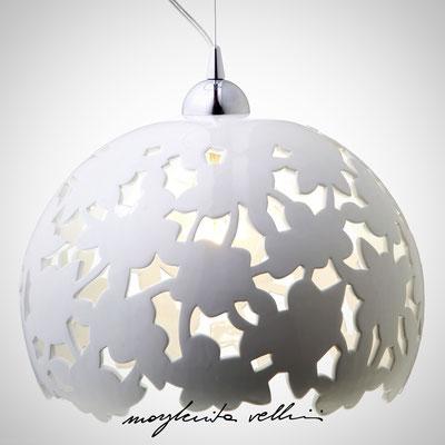 Sospensione PIZZO Maiolica bianco lucido - Margherita Vellini - Lampade in ceramica - Home Lighting Design