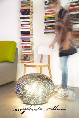 Stone table/floor lamps SPIRALI mixed colors glaze. Margherita Vellini - Ceramic Lamps -  Home Lighting Design - Made in Italy