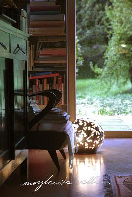 Lampade da tavolo / terra Sfera PIZZO metallo prezioso Platino 15% Margherita Vellini Ceramica Italiana fatta a mano Home Lighting Design