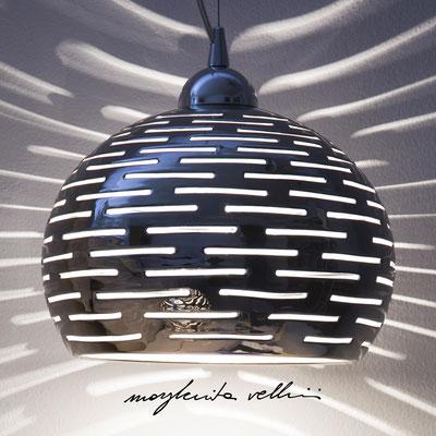 Sphere pendant lamp ORIZZONTALI  precious metal Platinum 15% Margherita Vellini - Ceramic Lamps -  Home Lighting Design - Made in Italy