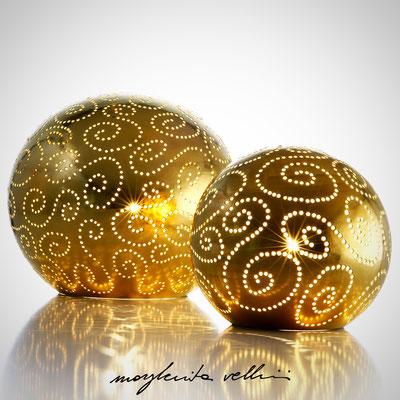 Sfere SPIRALI metallo prezioso Oro 15%  Margherita Vellini  - Lampade in ceramica  - Home Lighting Design