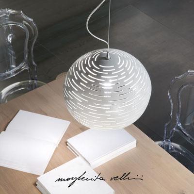 Sphere pendant lamp ORIZZONTALI  shiny white glaze. Margherita Vellini - Ceramic Lamps -  Home Lighting Design - Made in Italy