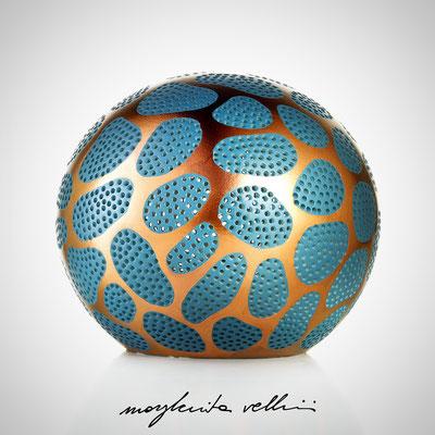 Sfere CELLULE metallo prezioso Bronzo (oro rosso) 15%, smalto color ottanio - Margherita Vellini - Lampade in ceramica - Home Lighting Design