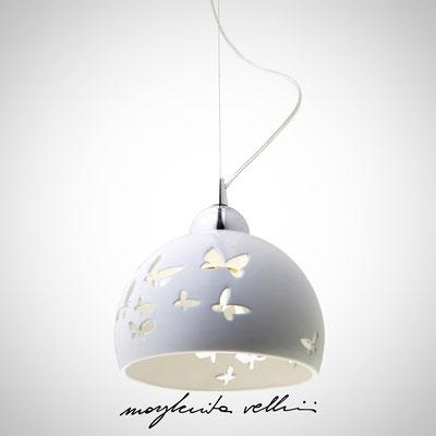 Sospensione FARFALLE Maiolica bianco lucido - Margherita Vellini - Lampade in ceramica - Home Lighting Design