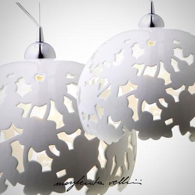 Sospensioni PIZZO Maiolica bianco lucido - Margherita Vellini - Lampade in ceramica - Home Lighting Design
