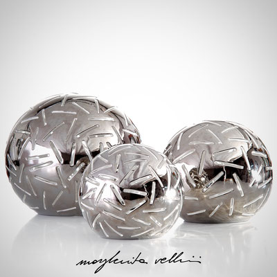 Sphere table lamps FITTI precious metal Platinum 15% Margherita Vellini - Ceramic Lamps -  Home Lighting Design - Made in Italy